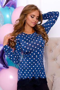 Синяя блузка в горошек Open-Style со скидкой